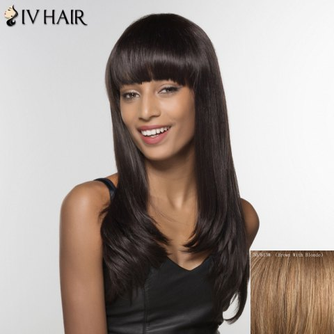 Shops Trendy Siv Hair Neat Bang Long Curly Human Hair Women's Wig