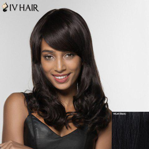 Affordable Siv Hair Long Curly Human Hair Women's Wig - JET BLACK  Mobile