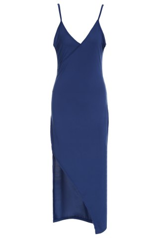 New Sexy Spaghetti Strap Solid Color High Slit Sleeveless Dress For Women CADETBLUE S