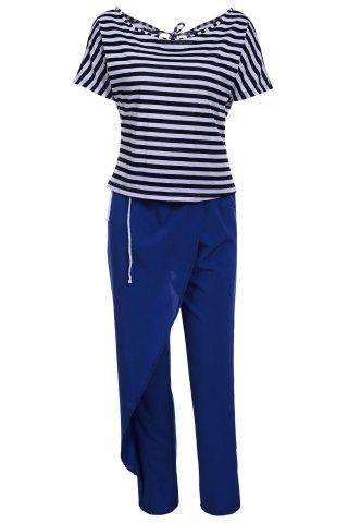 Casual Style Skew Neck Short Sleeve Striped T-Shirt + Drawstring Pants Women's Twinset - Blue And White - L