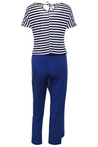 Outfit Casual Style Skew Neck Short Sleeve Striped T-Shirt + Drawstring Pants Women's Twinset - L BLUE AND WHITE Mobile