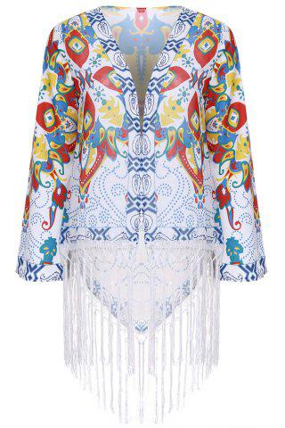 Buy Vintage Collarless Long Fringe Kimono COLORMIX M