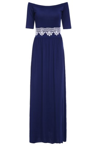 Outfits Vintage Off-The-Shoulder Waist Lace Spliced Maxi Dress For Women