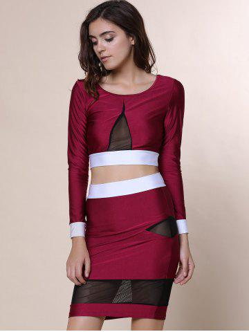 Fancy Sexy Scoop Collar Long Sleeve See-Through Crop Top + Spliced Skinny Skirt Women's Twinset - M WINE RED Mobile