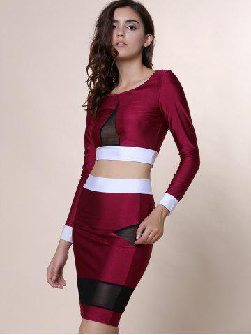 Store Sexy Scoop Collar Long Sleeve See-Through Crop Top + Spliced Skinny Skirt Women's Twinset - M WINE RED Mobile
