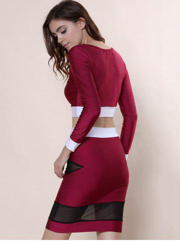 Sale Sexy Scoop Collar Long Sleeve See-Through Crop Top + Spliced Skinny Skirt Women's Twinset - L WINE RED Mobile