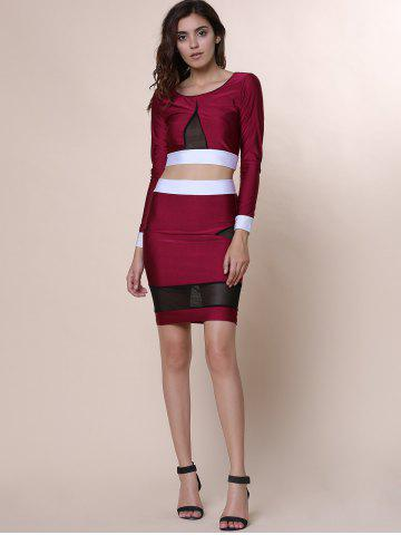 Fancy Sexy Scoop Collar Long Sleeve See-Through Crop Top + Spliced Skinny Skirt Women's Twinset - L WINE RED Mobile