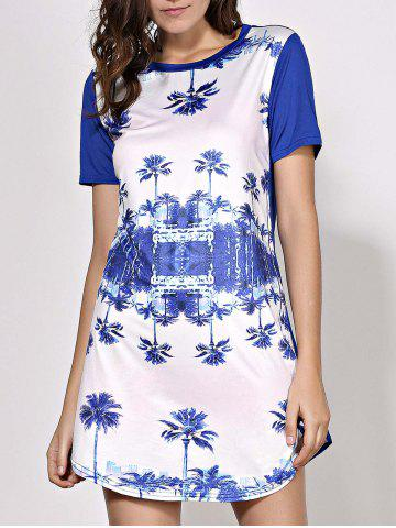 Fashion Round Neck Trees Printed Mini Shift Dress PURPLISH BLUE S