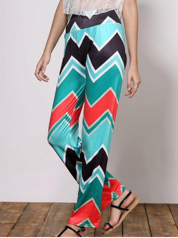 Trendy Stylish Mid-Waisted Wave Print Loose-Fitting Women's Exumas Pants GREEN S