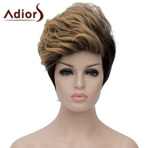 Discount Fashion Blonde Mixed Black Short Capless Fluffy Wave Synthetic Adiors Bump Wig For Women