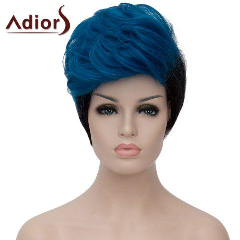 Chic Attractive Blue Ombre Black Short Synthetic Shaggy Natural Wave Adiors Bump Wig For Women