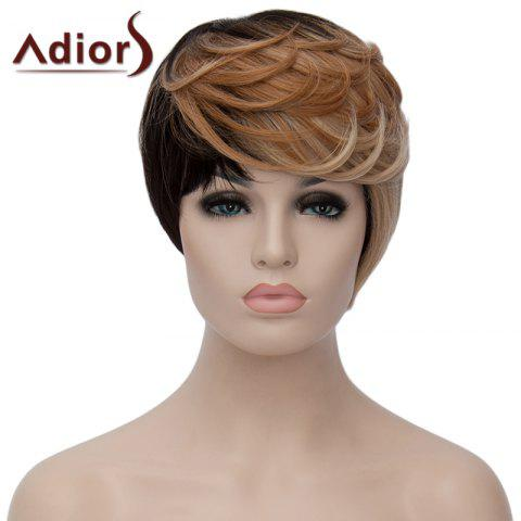 Outfit Trendy Short Shaggy Wave Synthetic Black Golden Mixed Side Bang Adiors Wig For Women