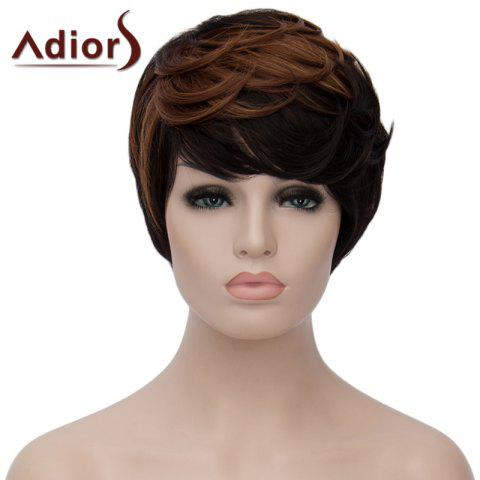 Cheap Vogue Side Bang Short Synthetic Shaggy Natural Wave Brown Highlight Adiors Wig For Women BLACK/BROWN