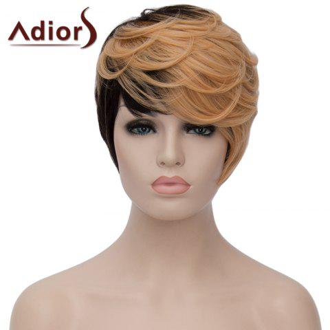 Trendy Adiors Fluffy Short Wave Capless Spiffy Side Bang Light Blonde Mixed Black Synthetic Women's Wig