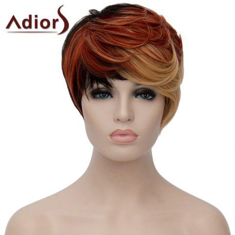 Fancy Fashion Multicolor Highlight Short Fluffy Natural Wave Synthetic Women's Adiors Wig