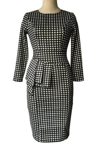 Fancy Plaid  Sheath Pencil Work Long Sleeve Peplum Dress WHITE AND BLACK M