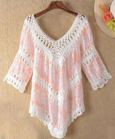 Chic Crochet Panel Tunic Beach Cover Up ORANGEPINK ONE SIZE(FIT SIZE XS TO M)