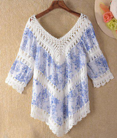 Discount Crochet Panel Tunic Beach Cover Up - ONE SIZE(FIT SIZE XS TO M) LIGHT BLUE Mobile