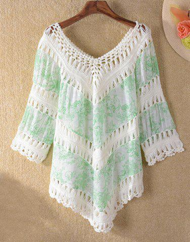 Affordable Crochet Panel Tunic Beach Cover Up - ONE SIZE(FIT SIZE XS TO M) LIGHT GREEN Mobile