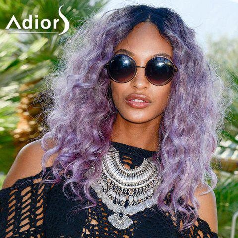 Trendy Fluffy Long Curly Synthetic Fashion Blue Ombre Purple Centre Parting Adiors Wig For Women