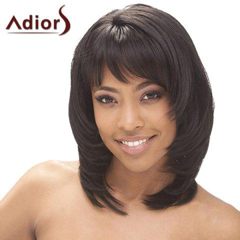 Shops Fluffy Straight Tail Adduction Synthetic Graceful Medium Layered Side Bang Adiors Wig For Women