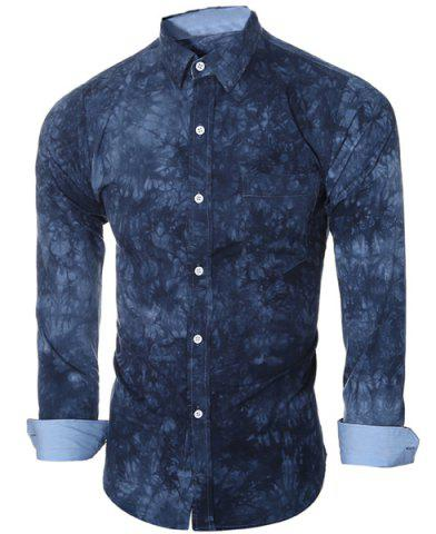 Outfit Abstract Tie-dye Patter One Pocket Shirt Collar Long Sleeves Slim Fit Shirt For Men