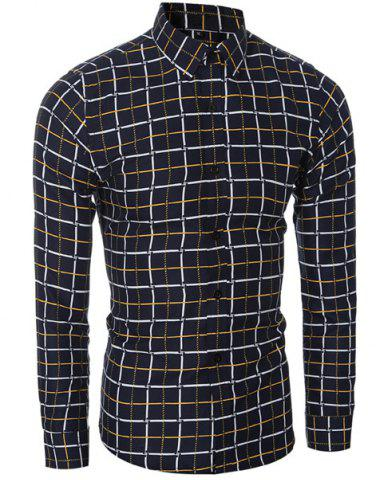 Chic Vogue Shirt Collar Classic Check Pattern Long Sleeves Slim Fit Shirt For Men YELLOW M