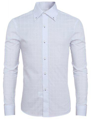 Outfits Laconic Shirt Collar Classic Plaid Long Sleeves Button-Down Shirt For Men