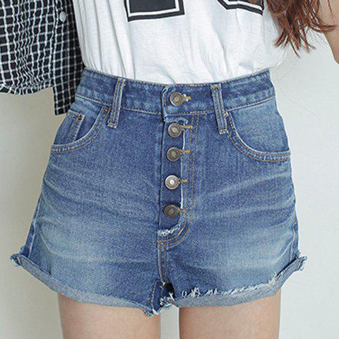Outfits Casual High Waist Button Fly Hemming Denim Shorts For Women - L LIGHT BLUE Mobile