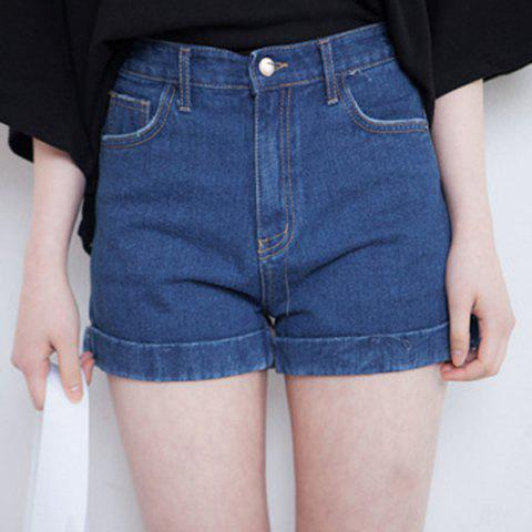 Fancy Casual High Waist Loose Fitting Solid Color Denim Shorts For Women DEEP BLUE L