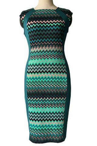 Trendy Vintage Style Round Neck Sleeveless Zigzag Stripe Pencil Dress For Women