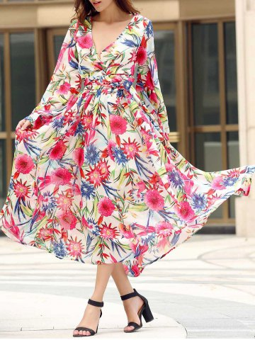 Best Bohemian Style V Neck Long Sleeve Colorful Floral Print Self Tie Belt Dress For Women