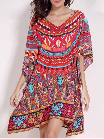 Outfits Retro Style V Neck Batwing Sleeve Ethnic Print Loose Dress For Women