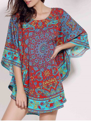 Unique Retro Style Scoop Neck Batwing Sleeve Ethnic Print Loose Dress For Women