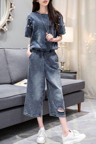 Stylish Denim Beaded T-Shirt + Wide-Leg Jeans Women's Twinset - Purplish Blue - M