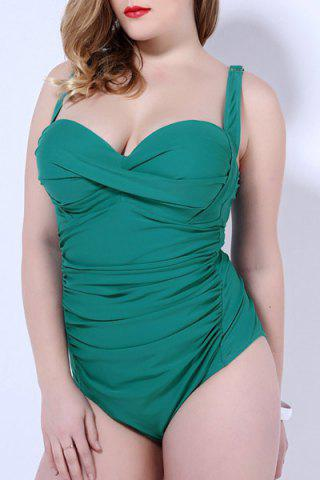 Hot Plus Size Bandeau One Piece Swimsuit with Underwire GREEN 2XL