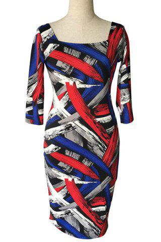 Fashion Stylish Square Neck 3/4 Sleeve Colorful Printed Plus Size Bodycon Dress For Women