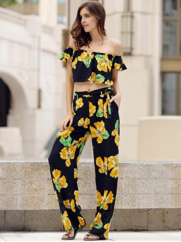 Buy Charming Off-The-Shoulder Short Sleeve Floral Print Crop Top + Self Tie Pants Twinset For Women