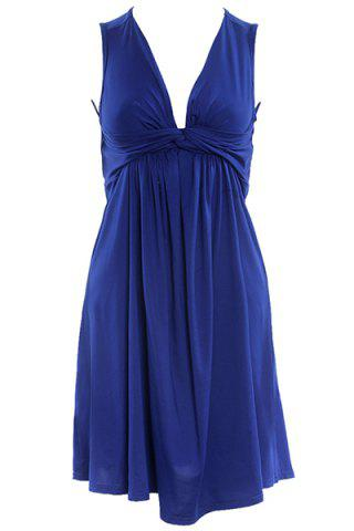 Unique Stylish Women's Plunging Neck Pleated Solid Color Dress