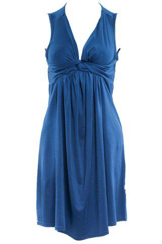 New Stylish Women's Plunging Neck Pleated Solid Color Dress LAKE BLUE S