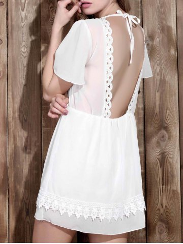 Discount V Neck Backless Lace Insert Dress