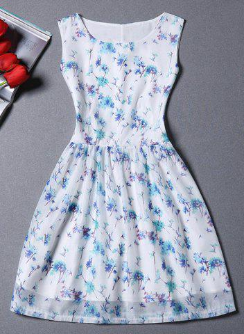 Affordable Jewel Neck Sleeveless Print A-Line Skater Dress