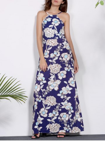 Chic Sleeveless Floral Printed Maxi Dress PURPLISH BLUE S