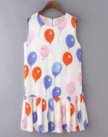 Fancy Cute Balloon Printed Pleated Sundress For Women