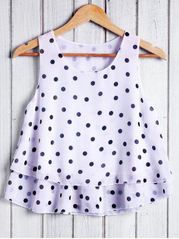 Cheap Trendy Round Collar Polka Dot Chiffon Women's Tank Top