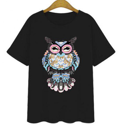 Affordable Stylish Round Neck Short Sleeves Sequined T-Shirt For Women BLACK XL