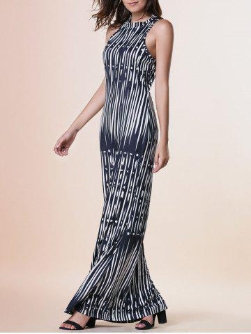 Affordable Maxi Print Cut Out Sleeveless Prom Dress BLACK S