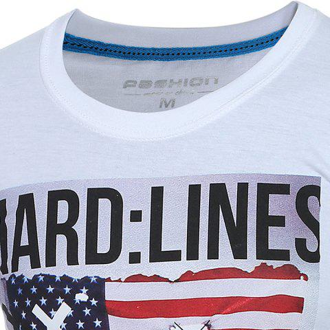 Outfits Trendy Round Neck Flag Pattern Print Long Sleeve Men's T-Shirt - XL WHITE Mobile