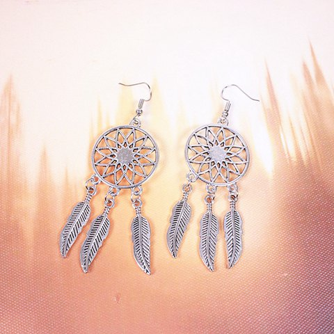 Fashion Dream Catcher Turquoise Feather Earrings - SILVER  Mobile