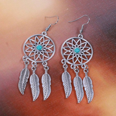 Buy Dream Catcher Turquoise Feather Earrings - SILVER  Mobile